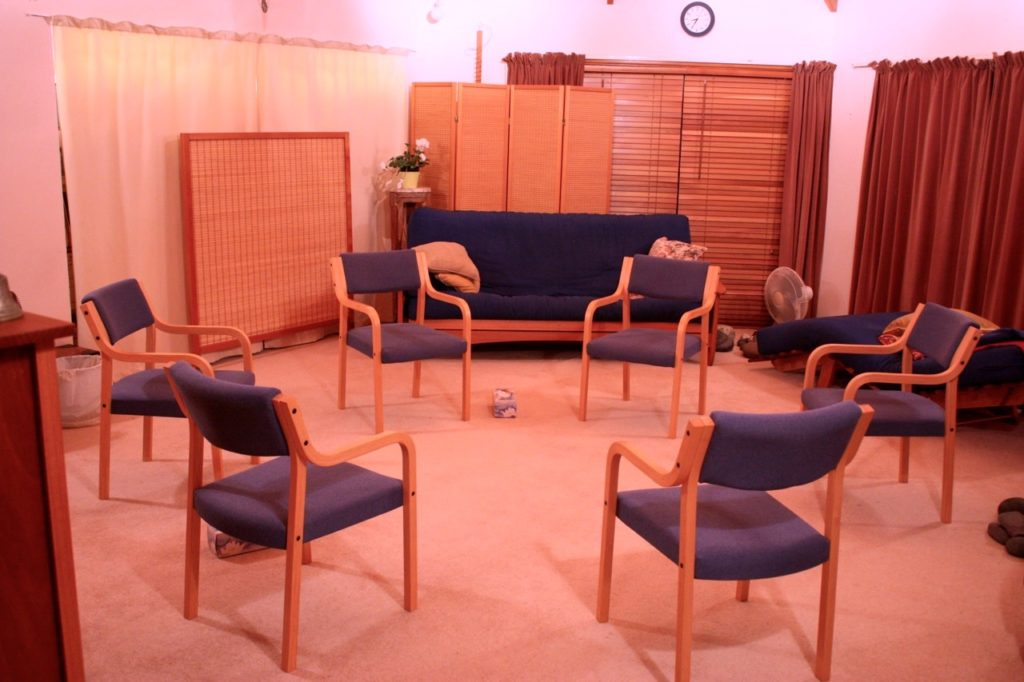 The Room Set Up For A Group